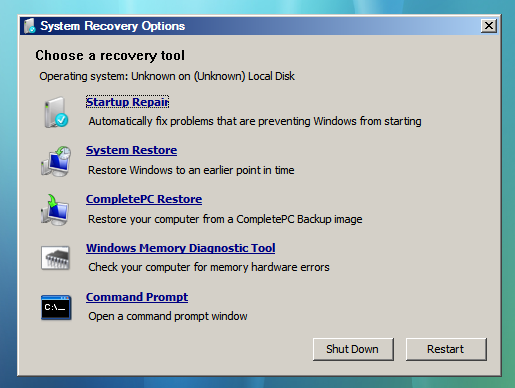 system recovery options from command prompt